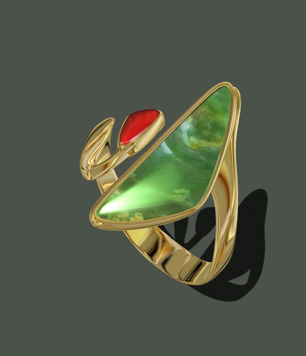 Jade & Carnelian Ring